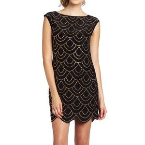 Trina Turk Silk Studded Scalloped Cocktail Dress